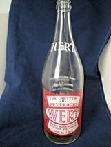 Vintage Wert 32oz Soda Bottle Wert Beverages Topton PA Red White Clear - $19.80