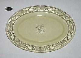 Rosemary Amber Platter 12 inches Oval Dutch Rose Federal - $12.95