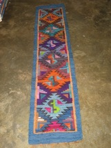 Hand-weaved rug from Peru, Runner with Rhombus designs, 4'92 x 0'98 ft. - $96.60