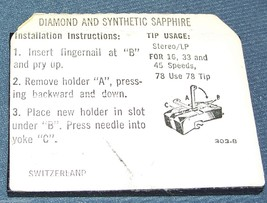 843-DS73 PHONOGRAPH RECORD PLAYER NEEDLE Stylus for A25/2 A23/2 T-23 Telefunken image 2
