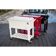 Patio Rolling Cooler Cream 80 Qt Antique Portable Garden Backyard Pool P... - $207.89