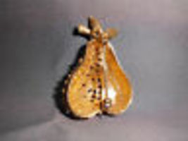 VTG 1960's BSK Enameled Pear Brooch Pin Gold Tone image 5