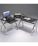 Corner Workstation Black Glass  Computer Workstaion Desk, Home Office De... - $319.99