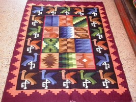 Peruvian hand weaved Rug with Pelican and Rhombus designs - $202.60