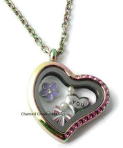 Rainbow Stainless Steel Pink CZ Heart Floating Charm Locket & Chain Neck... - $19.79