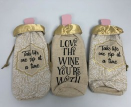 "Lot of 3 Gold Metallic Wine Bags ""Take life one sip at a time"" - $217,39 MXN"