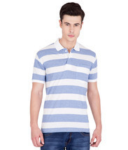 American-Elm Men's Cotton Stripes Polo T-shirts- Blue&White - $35.00