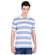 American-Elm Men's Cotton Stripes Polo T-shirts- Blue&White - ₨2,374.69 INR