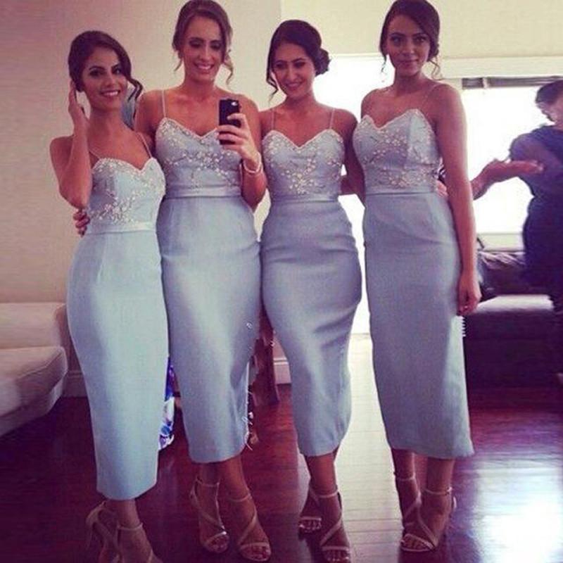 Legant tea length light blue bridesmaid font b dresses b font straps beaded sheath vestidos font