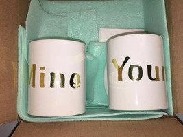 """Mine and Yours Mug Set WHITE w/ Gold Coffee Tea Cup 4"""" Tall Gold Letteri... - $4.80"""