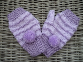 Ladies fingerless purple striped hand knitted mittens with pom poms - $17.00