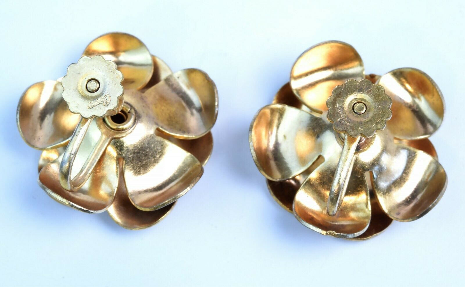 Vintage 1920's Signed Coro Earrings Screw Back Goldtone Flower Red Rhinestone