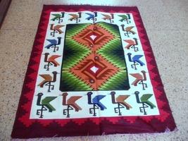 Peruvian colorful hand weaved Rug made of Merino wool, Marriage Design - $202.60