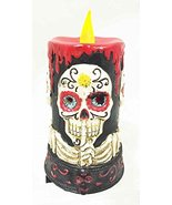Day of The Dead Silence Speak No Evil Skeleton Skull LED Candle Figurine... - $25.73