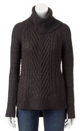 Primary image for ELLE Sweater Size: MEDIUM New GRAY Cable-Knit Turtleneck Sweater Свитер