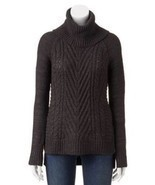 ELLE Sweater Size: MEDIUM New GRAY Cable-Knit Turtleneck Sweater Свитер - $1.155,55 MXN