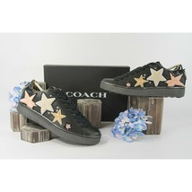 Coach Black Leather Shearling Stars Flatform Sneakers Size 10 NIB - $162.86