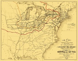 Atlantic Seaboard Trade Routes - Alpine 1853 - 23 x 29.04 - $36.95+