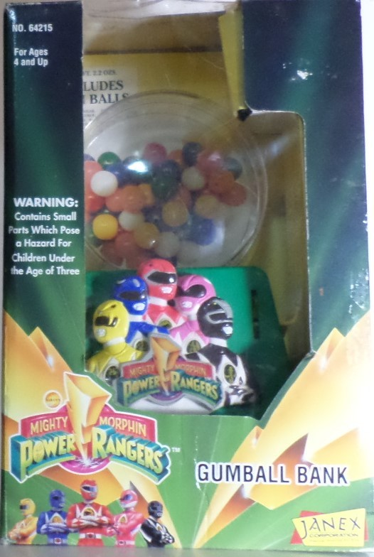 Mighty Morphin Power Rangers Gumball Coin Bank 1994 Janex Corp money H34