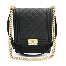 Chanel Boy Handbag Grained Calfskin Gold Tone Black Leather Flap Bag AS0130 - $7,299.00