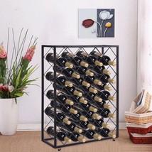 32 Bottle Wine Rack Metal Storage Display Liquor Cabinet w/Glass Table T... - $61.70