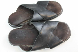 Timberland Sandals Men's size 10.5M Leather Slip On Black & Brown - $28.59