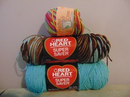 2 Red Heart Yarn Earth & Sky #0928 Aruba Sea #0505 Peaches & Cream Fiesta Ombre - $24.75