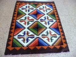 Peruvian geometric designed hand weaved rug - $202.60