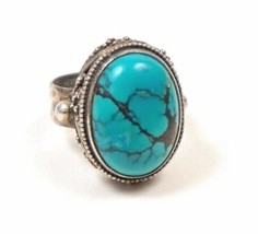 Vintage Hand Crafted Sterling Silver Natural Turquoise Cabochon Lady's Ring Size - $59.99