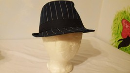 "ROUTE 66 FEDORA CAPA GANGSTER BLUE STRIPED POLYESTER OSFM ONE SIZE 22""HE... - $4.94"