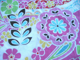Pottery Barn Paisley Pop Queen Duvet Cover Bright Pink Green Black Queen Full - $45.00