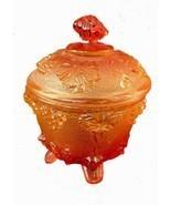 Vintage Jeannette Amberina Depression Glass Candy Dish, Lidded, Pedestal, - $31.97