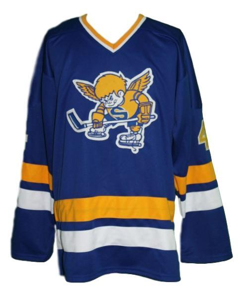 Walton  4 custom minnesota fighting saints retro hockey jersey blue   1