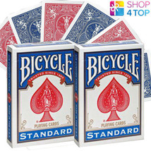 2 DECKS OF BICYCLE DOUBLE BACK NO FACE ONE SIDE RED ONE BLUE MAGIC TRICK... - $11.04