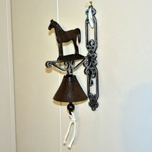 Painted Cast Iron Country Western Farm Horse Equine Decorative Mounted Bell image 4