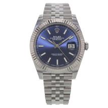 Rolex Datejust 41 126334 blij Blue Index Steel 18K White Gold Automatic Watch - $11,499.00