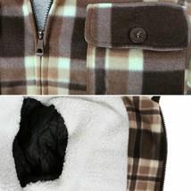 Men's Heavyweight Flannel Zip Up Sherpa Hoodie Brown Jacket w/ Defects - L image 2