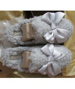 UGG Slippers Fluffy Addison Satin Bow Grey or Pink Big Kid 5 Fits Women 6.5 - $74.99