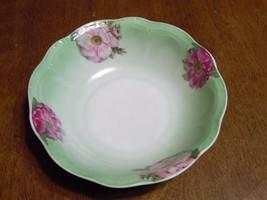 Vintage Porcelain Bowl Mint Green Floral Panels Germany - $12.38
