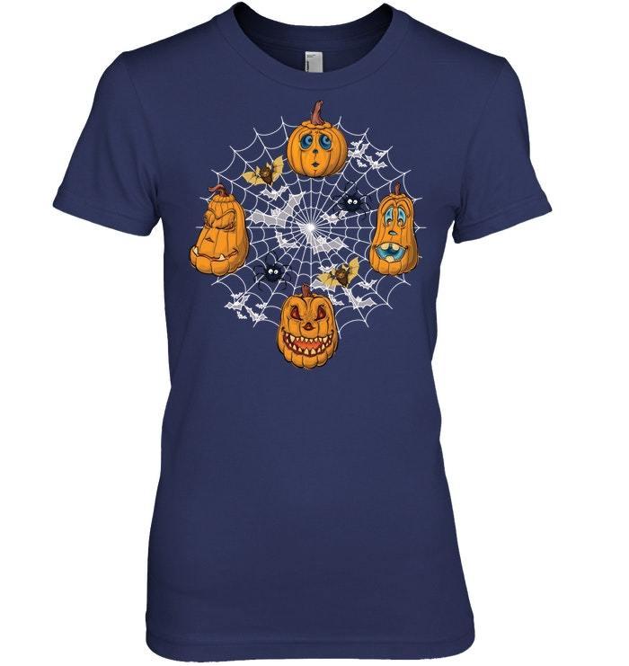 Funny Pumpkin Cartoon Faces Spider Web Halloween Tshirt