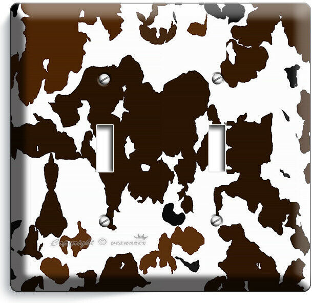 COW HIDE SKIN PRINT 2 GANG LIGHT SWITCH WALL PLATE COUNTRY STYLE ROOM HOME DECOR