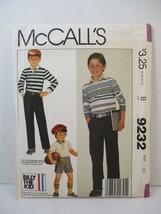 McCall's Pattern 9232 Boys Size 10 Pullover Top Pants Shorts Uncut Vinta... - $12.86