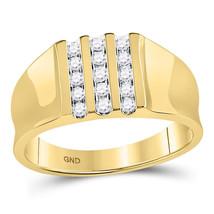 10kt Yellow Gold Mens Round Channel-set Diamond Triple Row Wedding Band ... - $604.00