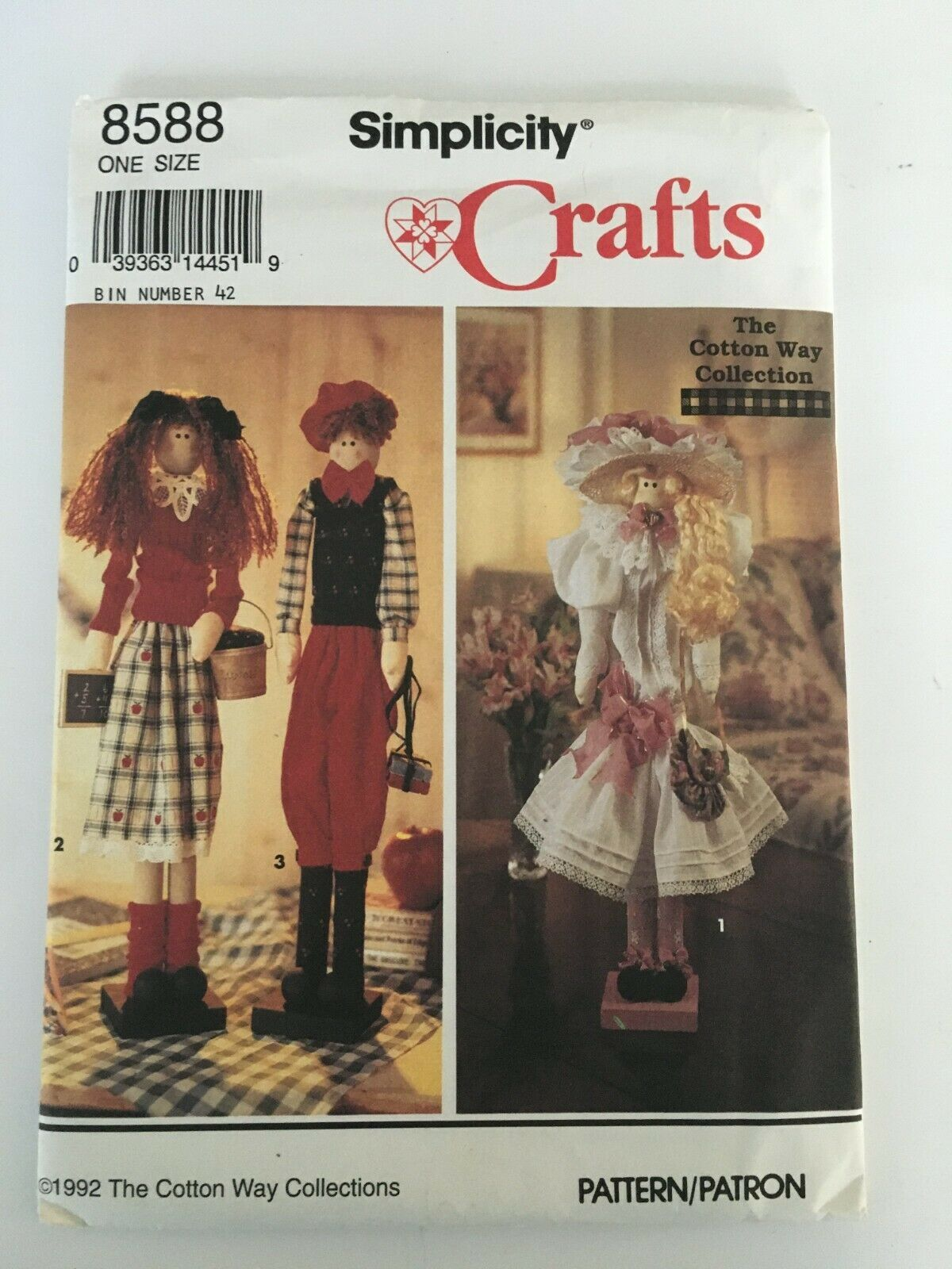 "Primary image for SImplicity Pattern 8588 22"" Dowel Dolls 3 Styles Clothing Uncut Crafting Project"