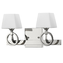 "Josephine Polished Nickel Wall Light Glass Shade 14""Wx7""H - $169.99"