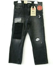 Levi 511 NWT $42 Boys Jeans Black Denim Size 6 Patches Distressed Slim F... - $26.72