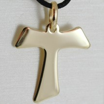 Flat yellow gold cross 750 18k pendant Franciscan tau,, san francesco, Italy image 1