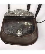 Brighton brown leather Silver Cherub Angel etched shoulder bag purse - $74.24