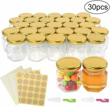 Superlele 30Pcs 1.5Oz Mini Hexagon Glass Jar Honey Bottle With 4Pcs Stic... - £18.53 GBP
