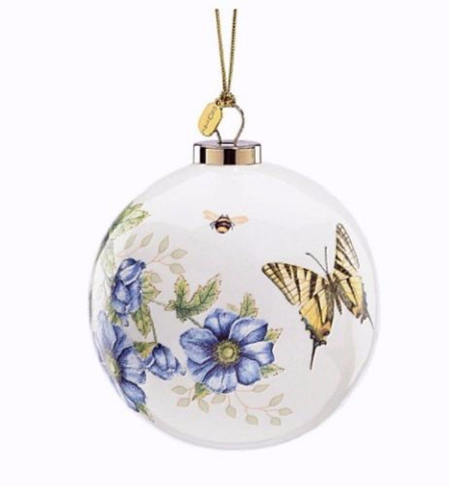 Lenox 2017 Butterfly Meadow Ball Ornament Annual Flowers Christmas Gift NEW